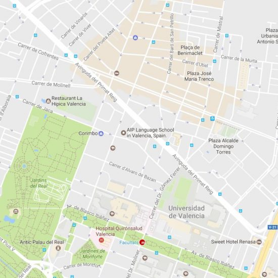 Map of valencia for located ou school AIP Language Institute